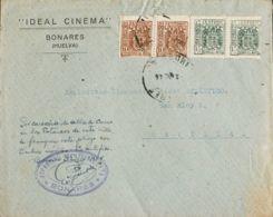 España. Fiscal. Sobre . 1944. 10 Cts Castaño, Dos Sellos Y 15 Cts Verde, Dos Sellos (todos Ellos Fiscales). BONARES (HUE - Fiscales