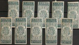 España. Fiscal. (*). 1876. SELLOS PARA GIRO De 1876. Serie Completa, A Falta Del 31'25 Pts. SIN DENTAR. MAGNIFICA. (Alem - Fiscales