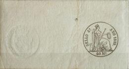 España. Fiscal. MH *. 1859. POLIZAS De 1859. 40 Ms Negro, Completo Con Sello En Seco. MAGNIFICO Y MUY RARO. (Alemany 13) - Fiscales
