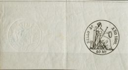 España. Fiscal. MH *. 1860. POLIZAS De 1860. 40 Ms Negro, Completo Con Sello En Seco. MAGNIFICO Y MUY RARO. (Alemany 17) - Fiscales