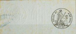 España. Fiscal. (*). 1860. POLIZAS De 1860. 40 Ms Negro, Completo Con Sello En Seco Y Marca Comercial (tonalizado, Sin I - Fiscales