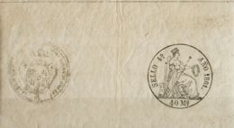 España. Fiscal. MH *. 1861. POLIZAS De 1861. 40 Ms Negro, Completo Con Sello En Seco. MAGNIFICO Y MUY RARO. (Alemany 21) - Fiscales