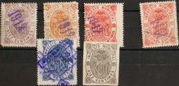 España. Fiscal. (*)/º. (1912ca). VALENCIA De 1912. IMPUESTO MUNICIPAL. 10 Cts Violeta, 25 Cts Naranja, 50 Cts Rojo Y 2 P - Fiscales