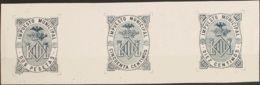 España. Fiscal. (*). 1882. VALENCIA De 1882. IMPUESTO MUNICIPAL. 10 Cts Azul, 50 Cts Azul Y 2 Pts Azul, Sobre PRUEBA DE - Fiscales