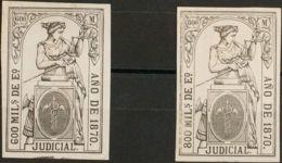 España. Fiscal. (*). 1870. POLIZAS De 1870. 600 Mils Negro Y 800 Mils Negro (tipo Justicia Con Leyenda JUDICIAL). MAGNIF - Fiscales