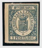 España. Fiscal. MH *. 1906. IMPUESTO SOBRE NAIPES De 1906. 1'80 Pts Verde. MAGNIFICO Y MUY RARO. (Alemany 4) - Fiscales