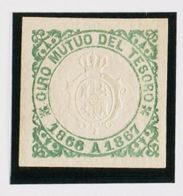 España. Fiscal. MH *. 1866. GIRO MUTUO DEL TESORO De 1866. Sin Valor, Verde. MAGNIFICO Y RARO, NO RESEÑADO. - Fiscales