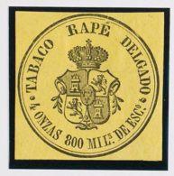 España. Fiscal. (*). (1867ca). IMPUESTO DEL TABACO De (1867ca). 800 Mils Negro Sobre Amarillo. TABACO RAPE DELGADO. MAGN - Fiscales