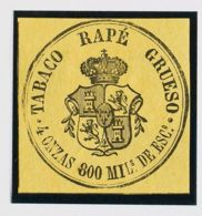 España. Fiscal. (*). (1867ca). IMPUESTO DEL TABACO De (1867ca). 800 Mils Negro Sobre Amarillo. TABACO RAPE GRUESO. MAGNI - Fiscales