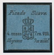 España. Fiscal. (*). (1868ca). IMPUESTO DEL TABACO De (1868ca). 700 Mils Negro Sobre Azul. PICADO SUAVE. MAGNIFICO Y MUY - Fiscales