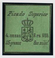 España. Fiscal. (*). (1868ca). IMPUESTO DEL TABACO De (1868ca). 800 Mils Negro Sobre Verde. PICADO SUPERIOR. MAGNIFICO Y - Fiscales