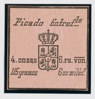 España. Fiscal. (*). (1868ca). IMPUESTO DEL TABACO De (1868ca). 600 Mils Negro Sobre Rosa. PICADO ENTREFTE. MAGNIFICO Y - Fiscales