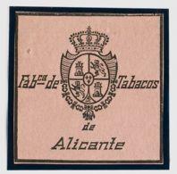 España. Fiscal. (*). (1868ca). IMPUESTO DEL TABACO De (1868ca). Sin Valor, Negro Sobre Rosa. FABCª DE TABACOS DE ALICANT - Fiscales