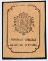 España. Fiscal. (*). (1876ca). IMPUESTO DEL TABACO De (1876ca). 40 Cts Negro Sobre Salmón. CIGARRILLOS SUPERIORES. MAGNI - Fiscales