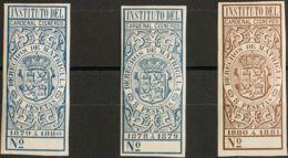 España. Fiscal. MH *. 1879. DERECHOS DE MATRICULAS De 1879. 8 Pts Azul, 8 Pts Azul Y 8 Pts Castaño. INSTITUTO DEL CARDEN - Fiscales