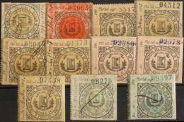 España. Fiscal. (*)/º. 1895. BARCELONA. DERECHO NOTARIAL De 1895. Conjunto De Once Sellos Fiscales De Diversos Valores E - Fiscales