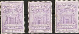 "España. Fiscal. (*). (1890ca). IMPUESTO MUNICIPAL. BURGOS De (1890ca). 1 Pts Lila, 2'50 Pts Lila Y ""GRATUITO"", Lila. COL - Fiscales"
