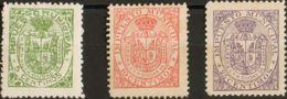España. Fiscal. MH *. 1899. GRANADA De 1899. IMPUESTO MUNICIPAL. Serie Completa, Tres Valores. MAGNIFICA MUY RARA. (Forb - Fiscales