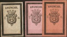 España. Fiscal. MH *. 1874. MADRID De 1874. IMPUESTO MUNICIPAL. 12 Cts Negro Sobre Blanco, 12 Cts Negro Sobre Violeta Y - Fiscales