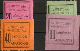 España. Fiscal. MH *. 1899. MADRID De 1899. IMPUESTO MUNICIPAL. Serie Completa, A Falta Del 15 Cts (en El Catálogo Forbi - Fiscales