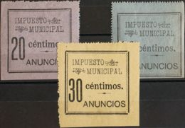 España. Fiscal. MH/MNG */(*). 1900. MADRID De 1900. IMPUESTO MUNICIPAL. 20 Cts Negro Sobre Lila, 30 Cts Negro Sobre Azul - Fiscales