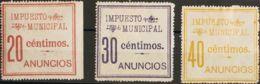España. Fiscal. MH/MNG */(*). 1904. MADRID De 1904. IMPUESTO MUNICIPAL. Serie Completa, Tres Valores. MAGNIFICA. (Forbin - Fiscales
