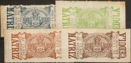 España. Fiscal. (*). 1899. MADRID De 1899. IMPUESTO MUNICIPAL. Serie Completa, Once Valores. CEDULAS RECARGO MUNICIPAL. - Fiscales