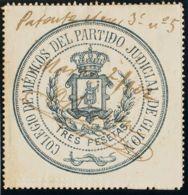España. Fiscal. º. 1902. GIJON. COLEGIO DE MEDICOS De 1902. 3 Pts Azul. COLEGIO DE MEDICOS DEL PARTIDO JUDICIAL DE GIJON - Fiscales
