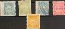 España. Fiscal. º. 1906. MALAGA De 1906. 10 Cts Verde Azul, 10 Cts Verde Claro, 25 Cts Azul, 50 Cts Rosa Y 2 Pts Naranja - Fiscales