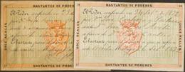 España. Fiscal. º. 1864. MALAGA. NOTARIA De 1864. 12 Reales Naranja Y Verde Y 12 Reales Rosa Y Verde. Etiquetas De BASTA - Fiscales