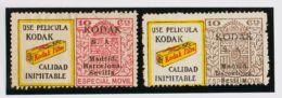 España. Fiscal. (*). 1923. ESPECIAL MOVIL PUBLICITARIO De 1923. 10 Cts Castaño Y 10 Cts Carmín Rosa, Con La Viñeta USE P - Fiscales