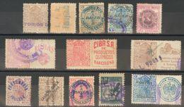 España. Fiscal. (*)/º. (1923ca). ESPECIAL MOVIL PUBLICITARIO De (1923ca). Conjunto De Veinticinco Sellos De Diferentes V - Fiscales