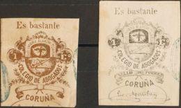 España. Fiscal. º. 1868. LA CORUÑA. COLEGIO DE ABOGADOS De 1868. 1 Escudo Bronce Y 1 Escudo Negro. MAGNIFICOS Y RAROS. ( - Fiscales