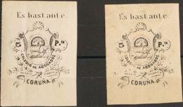España. Fiscal. MH *. 1873. LA CORUÑA. COLEGIO DE ABOGADOS De 1873. 5 Pts Negro, Dos Fiscales. MAGNIFICOS Y RAROS. (Fulc - Fiscales