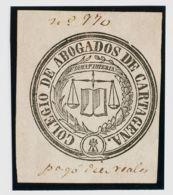 España. Fiscal. º. (1860ca). CARTAGENA. COLEGIO DE ABOGADOS De (1860ca). 10 Reales (manuscrito) Negro. MAGNIFICO. - Fiscales