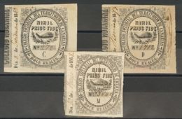 España. Fiscal. º. 1868. CANARIAS. NOTARIAS De 1868. 12 Reales Negro, Tres Fiscales (Series C, D Y M). MAGNIFICOS Y RARO - Fiscales