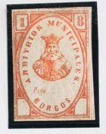 España. Fiscal. (*). 1877. BURGOS. IMPUESTO MUNICIPAL. Sin Valor, Bermellón. MAGNIFICO Y RARO. (Forbin 1) - Fiscales