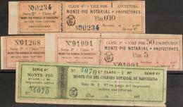 España. Fiscal. MH *. (1890ca). BARCELONA. NOTARIAS De (1890ca). 10 Cts Negro Sobre Naranja, 50 Cts Negro Sobre Naranja, - Fiscales