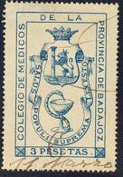 España. Fiscal. º. (1890ca). BADAJOZ. COLEGIO DE MEDICOS De (1890ca). 3 Pts Azul. MAGNIFICO Y RARO. - Fiscales