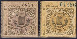 España. Fiscal. MH *. (1900ca). ALICANTE. NOTARIAS De (1900ca). 3 Pts Negro Sobre Ocre Y 3 Pts Negro Sobre Lila. COLEGIO - Fiscales