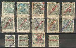 España. Fiscal. (*)/º. (1927ca). ADUANAS De (1927ca). Conjunto De Veintidós Sellos Fiscales De Diferentes Valores Y Peri - Fiscales
