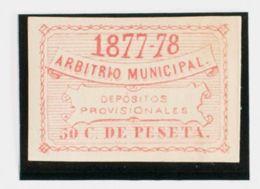 España. Fiscal. MH *. 1877. MADRID. DEPOSITOS De 1877. 50 Cts Rosa (sin Dentar). MAGNIFICO Y RARO, NO RESEÑADO SIN DENTA - Fiscales