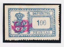 España. Fiscal. (*). 1901. MADRID. DEPOSITOS De 1901. 100 Pts Azul (sobrecarga IS, En Carmín). MAGNIFICO Y MUY RARO. (Fo - Fiscales