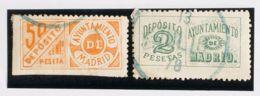 España. Fiscal. º. 1878. MADRID. DEPOSITOS De 1878. 50 Cts Naranja Y 2 Pts Verde. MAGNIFICO Y RARO. (Forbin 5, 7) - Fiscales