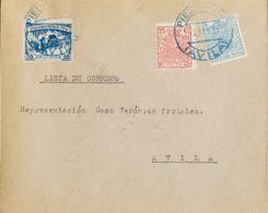 España. Fiscal. Sobre 3. 1937. 10 Cts Azul Y Fiscales De 5 Cts Azul Y 25 Cts Rosa Carmín. PIEDRAHITA A AVILA. Matasello - Fiscales