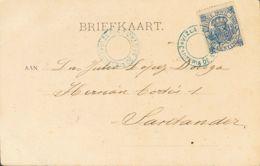 España. Fiscal. Sobre 22. (1902ca). 10 Cts Azul, Timbre Móvil (1902). Tarjeta Postal De SESTAO A SANTANDER. Matasello Es - Fiscales