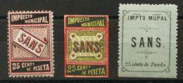 España. Fiscal. MH *. (1925ca). 25 Cts Negro, Carmín Y Castaño Claro, 25 Cts Negro, Rojo Y Verde Y 25 Cts Negro Sobre Ve - Fiscales