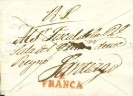 España. Galicia. Prefilatelia. Sobre . (1825ca). Plica Judicial De PONTEVEDRA A SANTIAGO. Marca P / FRANCA, En Rojo (P.E - España