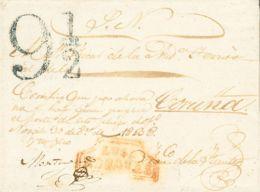 España. Galicia. Prefilatelia. Sobre . 1838. Plica Judicial De NOGALES A CORUÑA. Marca LUGO / NOGALES (P.E.1) Edición 20 - España
