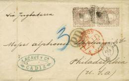 España. Gobierno Provisional. Sobre 109(2). 1872. 200 Mils Castaño, Pareja. CADIZ A USA. MAGNIFICA. - 1868-70 Gobierno Provisional